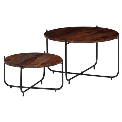 vidaXL Set masă de cafea, 2 piese, lemn masiv de sheesham, 60 x 35 cm