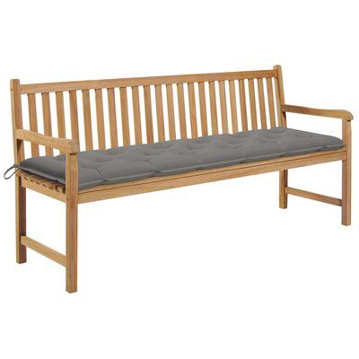 vidaXL Bancă de grădină, pernă gri, 175 cm lemn masiv tec