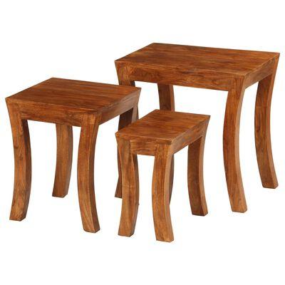 vidaXL Set mese suprapuse,3 piese,lemn masiv acacia, 50x35x50 cm, maro