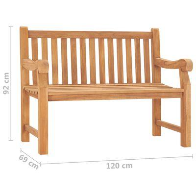 vidaXL Bancă de grădină cu pernă, 120 cm, lemn masiv tec