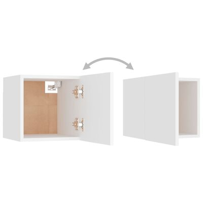 vidaXL Dulapuri TV montate pe perete, 2 buc., alb, 30,5x30x30 cm
