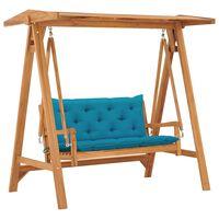 vidaXL Balansoar cu pernă albastru deschis, 170 cm lemn masiv tec