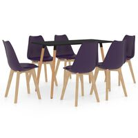 vidaXL Set de masă, 7 piese, violet închis