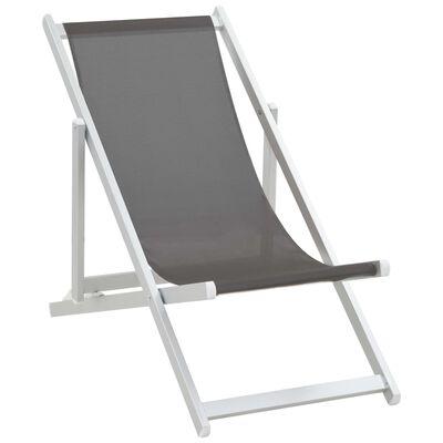 vidaXL Scaune pliante de plajă, 2 buc., gri, aluminiu și textilenă