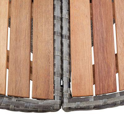 vidaXL Set mobilier de exterior, 7 piese, gri, poliratan, lemn acacia