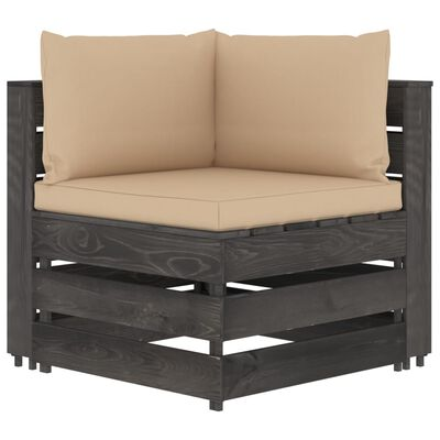 vidaXL Set mobilier de grădină cu perne, 9 piese, gri, lemn tratat