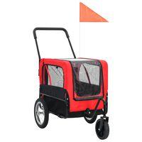 vidaXL Remorcă bicicletă & cărucior jogging animale, roșu și negru