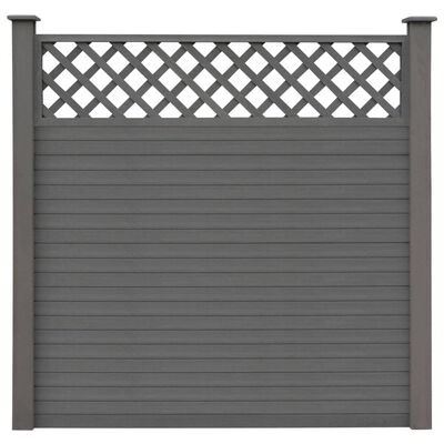 vidaXL Set panouri de gard, 3 buc., gri, 526 x 185 cm, WPC, pătrat