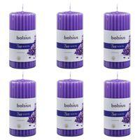 Bolsius Lumânări parfumate striate, 6 buc., lavandă, 120 x 58 mm