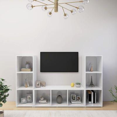 vidaXL Comode TV, 3 buc., alb extralucios, 107x35x37 cm, PAL