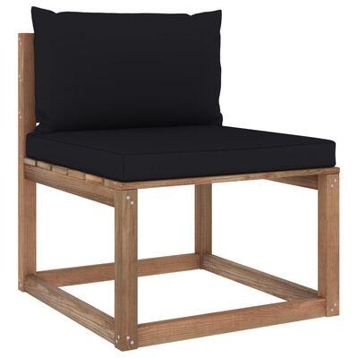 vidaXL Set mobilier grădină cu perne, 6 piese, lemn pin tratat