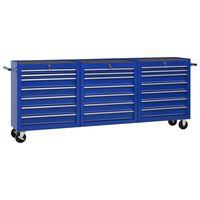 vidaXL Cărucior de scule cu 21 sertare, albastru, oțel