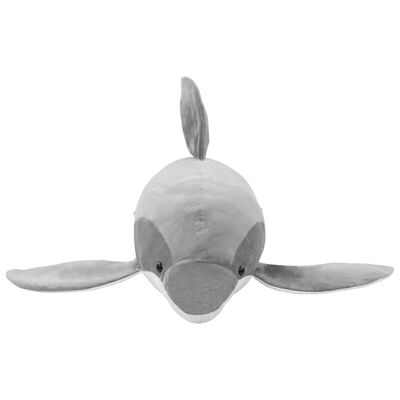 vidaXL Delfin de jucărie, gri, pluș