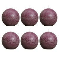 Bolsius Lumânare bilă rustică, 6 buc., violet, 80 mm