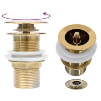 vidaXL Ventil scurgere push, fără preaplin, auriu 6,4x6,4x9,1 cm