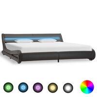 vidaXL Cadru de pat cu LED, gri, 180 x 200 cm, piele artificială