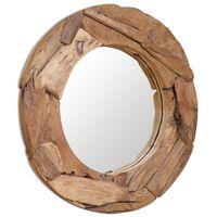 vidaXL Oglindă decorativă Lemn de tec 80 cm Rotundă