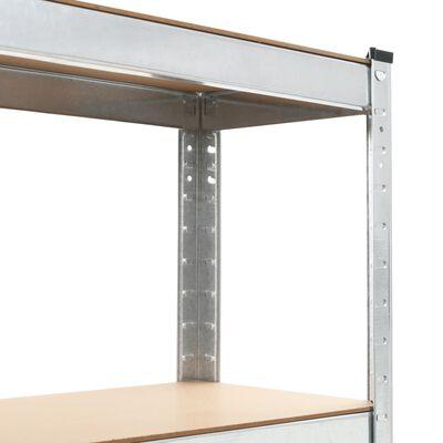 vidaXL Rafturi depozitare, 3 buc., argintiu, 75x30x172cm, oțel & MDF