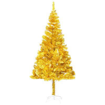 vidaXL Pom de Crăciun artificial cu suport, auriu, 240 cm, PET