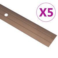 vidaXL Profile de pardoseală, 5 buc., maro, 100 cm, aluminiu