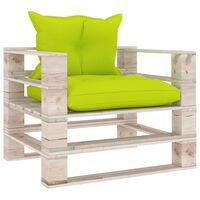 vidaXL Canapea de grădină din paleți cu perne verde crud, lemn de pin