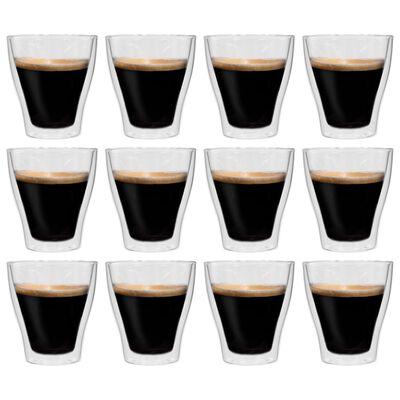 vidaXL Pahare pentru latte macchiato cu pereți dubli, 12 buc., 280 ml
