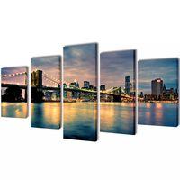 Set tablouri perete din pânză, podul Brooklyn, vedere râu, 200x100 cm