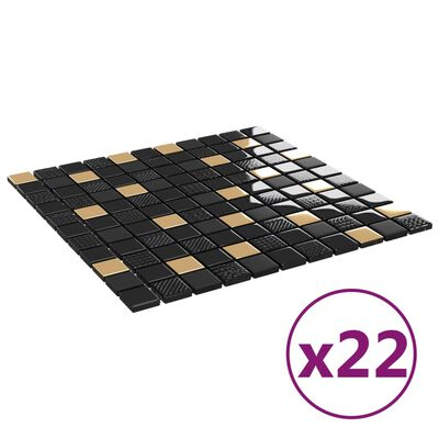 vidaXL Plăci mozaic autoadezive 22 buc. negru și auriu 30x30cm sticlă