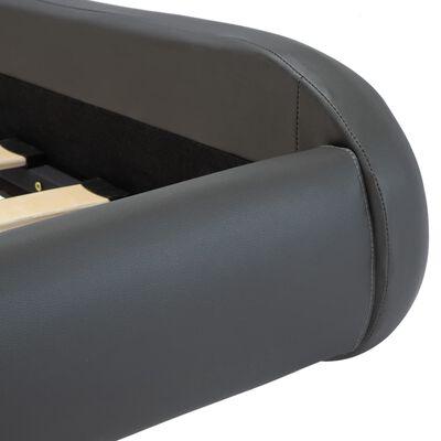 vidaXL Cadru de pat cu LED, gri, 120 x 200 cm, piele ecologică