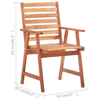 vidaXL Scaune de exterior, cu perne, 3 buc., lemn masiv de acacia