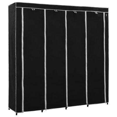 vidaXL Șifonier cu 4 compartimente, negru, 175 x 45 x 170 cm