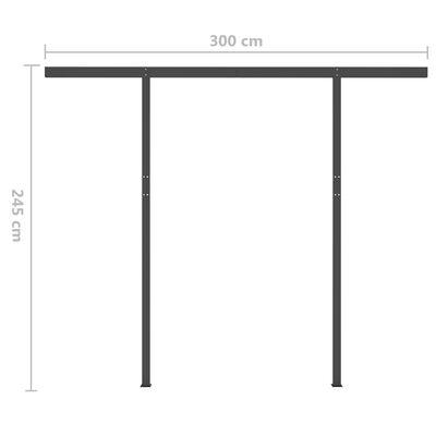 vidaXL Copertină retractabilă manual cu stâlpi, albastru&alb, 3x2,5 m
