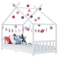 vidaXL Kids Bed Frame White Solid Pine Wood 90x200 cm