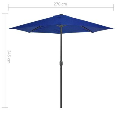vidaXL Umbrelă balcon, tijă aluminiu albastru 270x135x245 cm semirotund