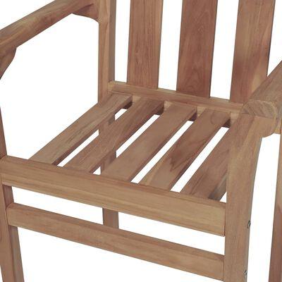 vidaXL Scaune de grădină stivuibile cu perne, 4 buc., lemn masiv tec