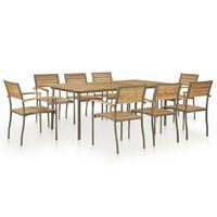 vidaXL Set mobilier de exterior, 9 piese, lemn masiv acacia și oțel