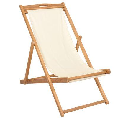 vidaXL Scaun de exterior, crem, 56 x 105 x 96 cm, lemn de tec