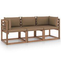 vidaXL Canapea de grădină paleți, 3 locuri, perne gri taupe, lemn pin