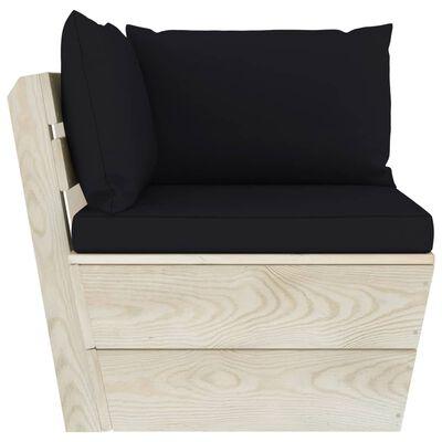 vidaXL Set mobilier grădină din paleți, cu perne, 4 piese, lemn molid