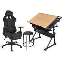 vidaXL Masă de desen cu blat înclinat, cu scaun de birou