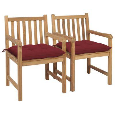 vidaXL Scaune de grădină cu perne roșu vin, 2 buc., lemn masiv de tec
