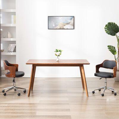 vidaXL Scaun de bucătărie pivotant negru lemn curbat & piele ecologică