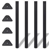 Picioare de masă reglabile, Negre, 870 mm, 4 buc.