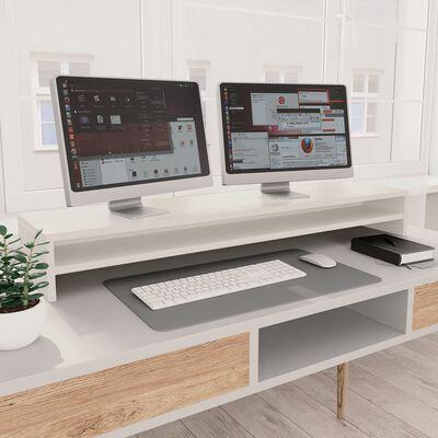 vidaXL Suport monitor, alb, 100 x 24 x 13 cm, PAL
