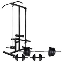 vidaXL Turn de forță cu set de haltere și gantere 60,5 kg