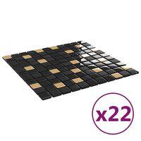 vidaXL Self-adhesive Mosaic Tiles 22 pcs Black and Gold 30x30 cm Glass