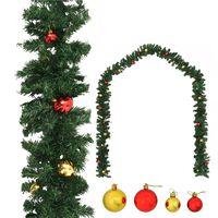 vidaXL Ghirlandă de Crăciun decorată cu globuri, 10 m