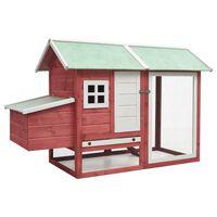 vidaXL Coteț de păsări, roșu, 170 x 81 x 110 cm, lemn masiv pin & brad
