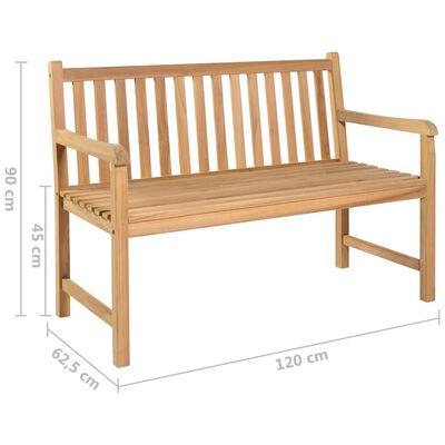 vidaXL Bancă de grădină, pernă crem, 120 cm, lemn masiv tec