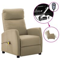 vidaXL Electric Massage Reclining Chair Cappuccino Faux Leather (289729+327164)